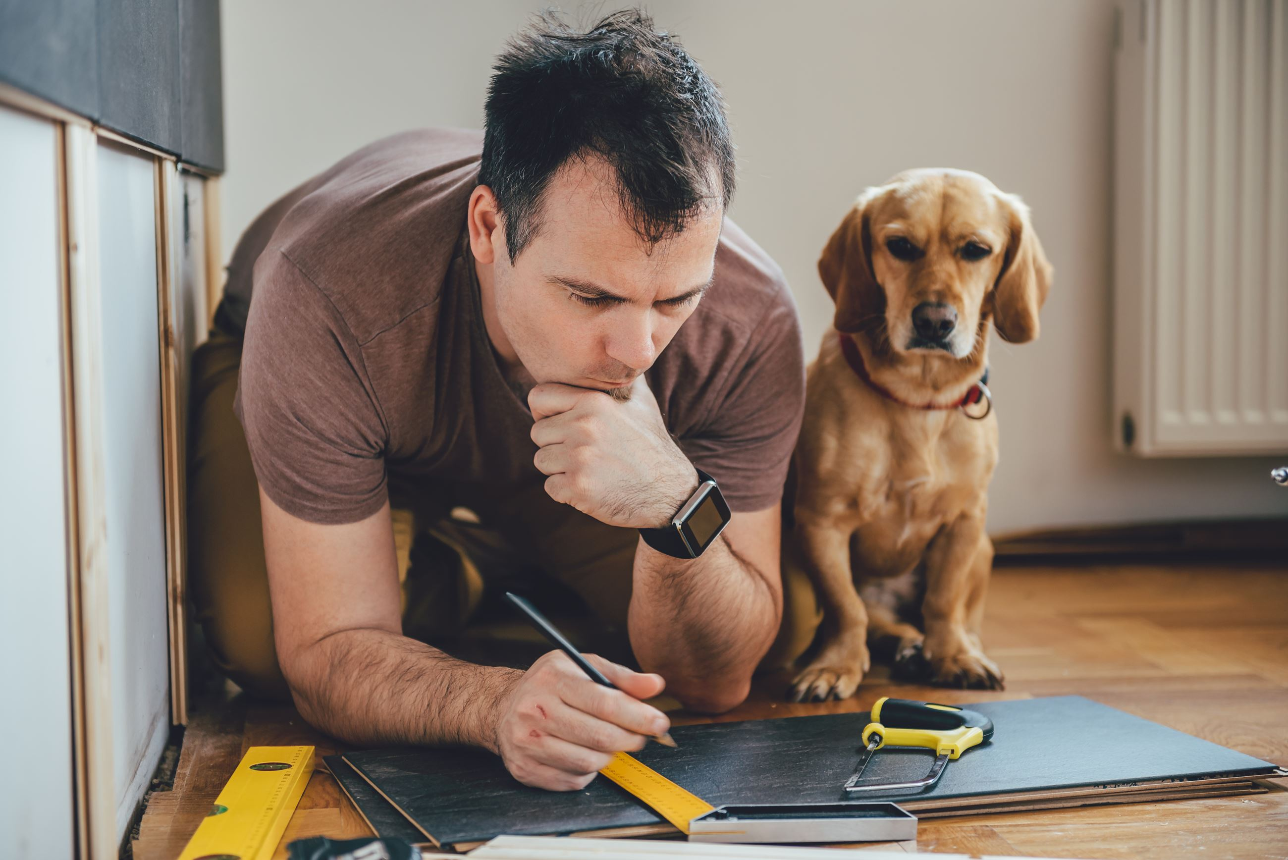 Man with dog looking at plans